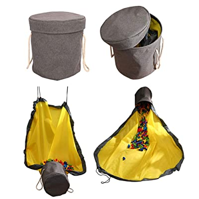 "HOTFUN Kids Toy Storage Basket and Play Mat, Toys Storage Bag Large Drawstring Portable Container Storage Bins Floor Activity Organizer Mat 57"": Toys & Games"