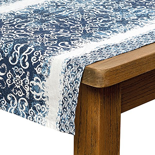 Indigo Ikat Table Runner, Shades of Blue,100 Percent Cotton, 4 1/2 Feet (55 Long x 15 3/4 Wide Inches) Hand Printed, From our Grand Tour (Hand Batik Cotton Table Runner)