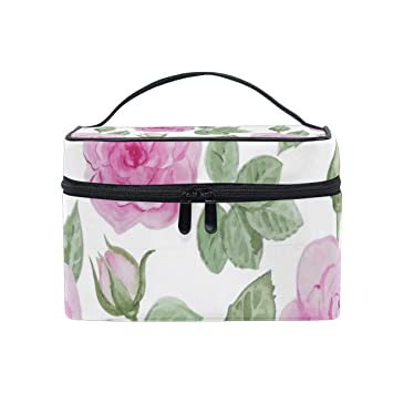 f352e522a493 Amazon.com : Fresh And Elegant Pink Rose Travel Makeup Cosmetic Case ...