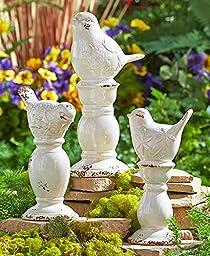 Set of 3 Ceramic Bird Finials