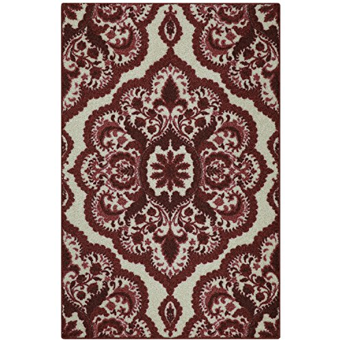 Maples Rugs Kitchen Rug - Vivian 2.5 x 4 Non Skid Small Accent Throw Rugs [Made in USA] for Entryway and Bedroom, 2'6 x 3'10, Garnet - Accent Mat