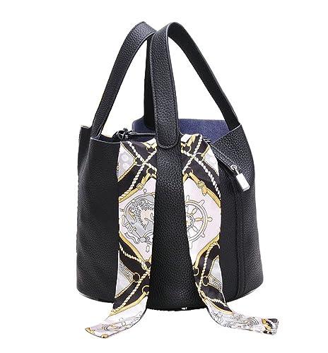 3f1f1a8951 Ainifeel Women s Genuine Leather Top Handle Handbag Casual Purse With  Padlock (Black)  Amazon.co.uk  Shoes   Bags