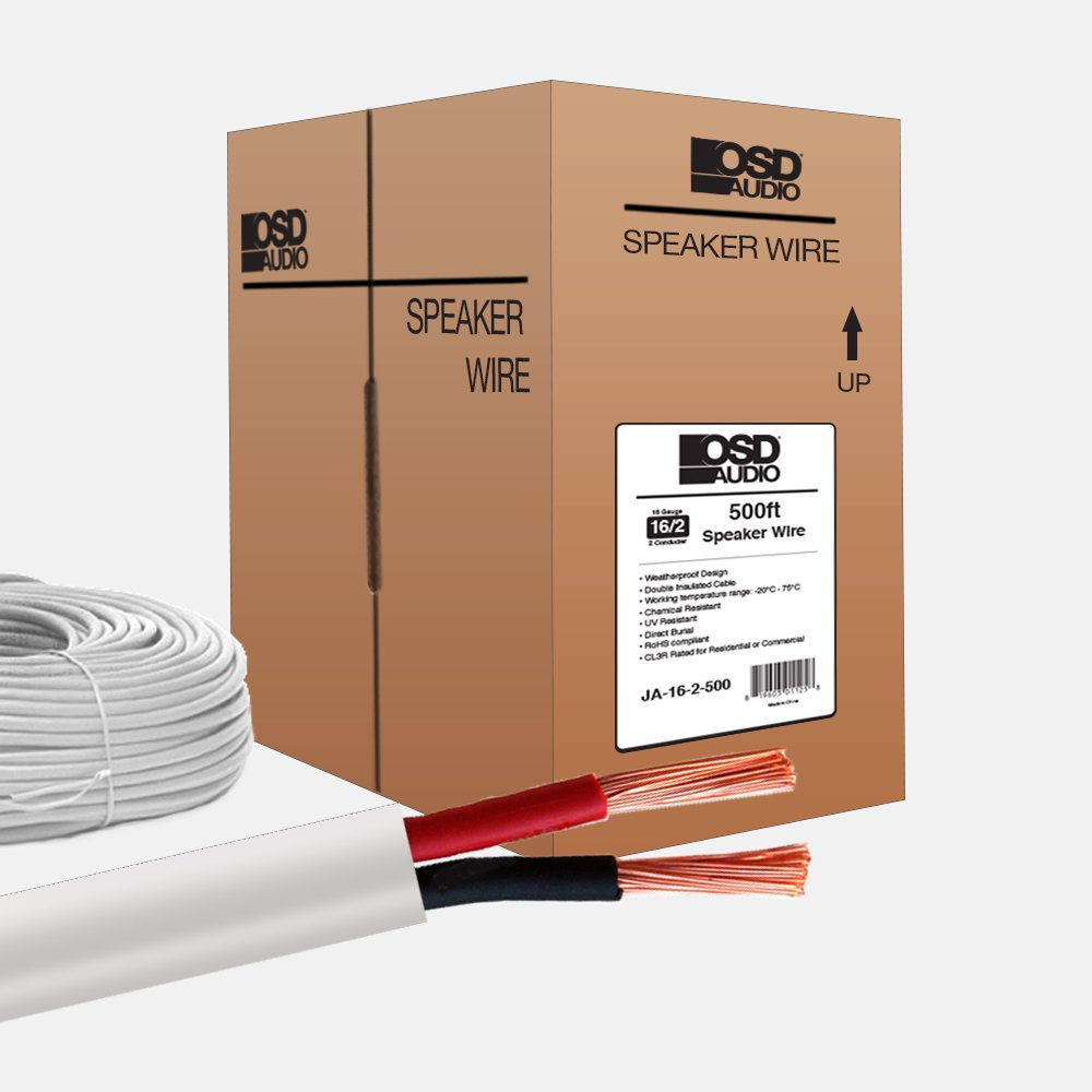 OSD 16 Gauge 2-Conductor 500FT UL CL3 Rated Oxygen Free In Wall Speaker Wire Pure Copper, Direct Burial Graded