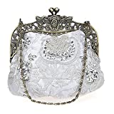 EPLAZA Women Rhinestone Sequin Beaded Satin Evening Clutch Bags Retro Party Handbags Purse (C)