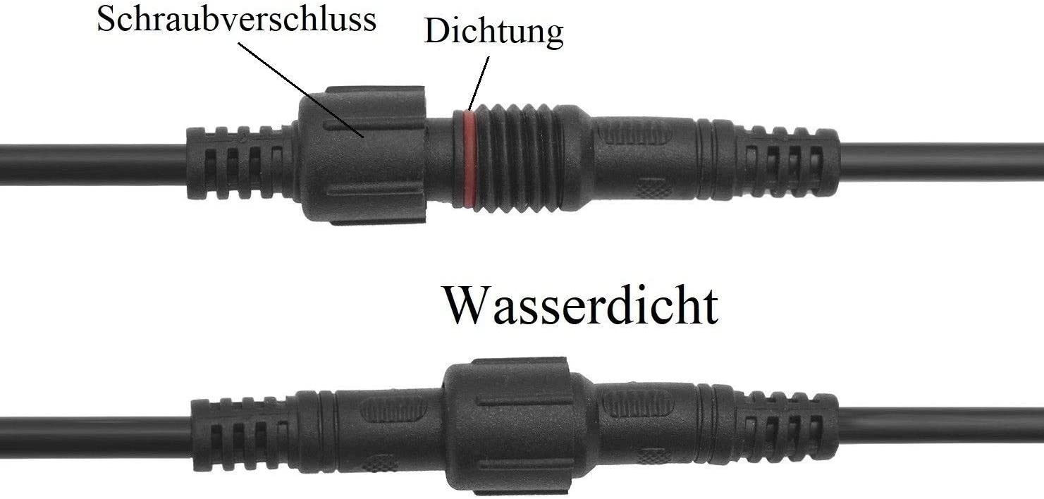 2 polige Wasserdicht Steckverbindung Stecker und Kupplung bis 3A 2x100cm Auto.