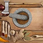"""Anzone Mortar and Pestle, Unpolished Granite,Spice Crusher ,5.9 Inch 14 Our finely designed solid set is made of genuine natural granite. Dimensions: 5.9 """" Diameter x 3.9"""" tall bowl,5.9"""" Pestle Length. The molcajete is used for effectively grinding, crushing, mixing, mashing herbs, spices, nuts, ginger, garlic and other assorted things to very fine powder or paste. Its heavy weight easily perform grinding. You can control the degree of crushing with ease.."""