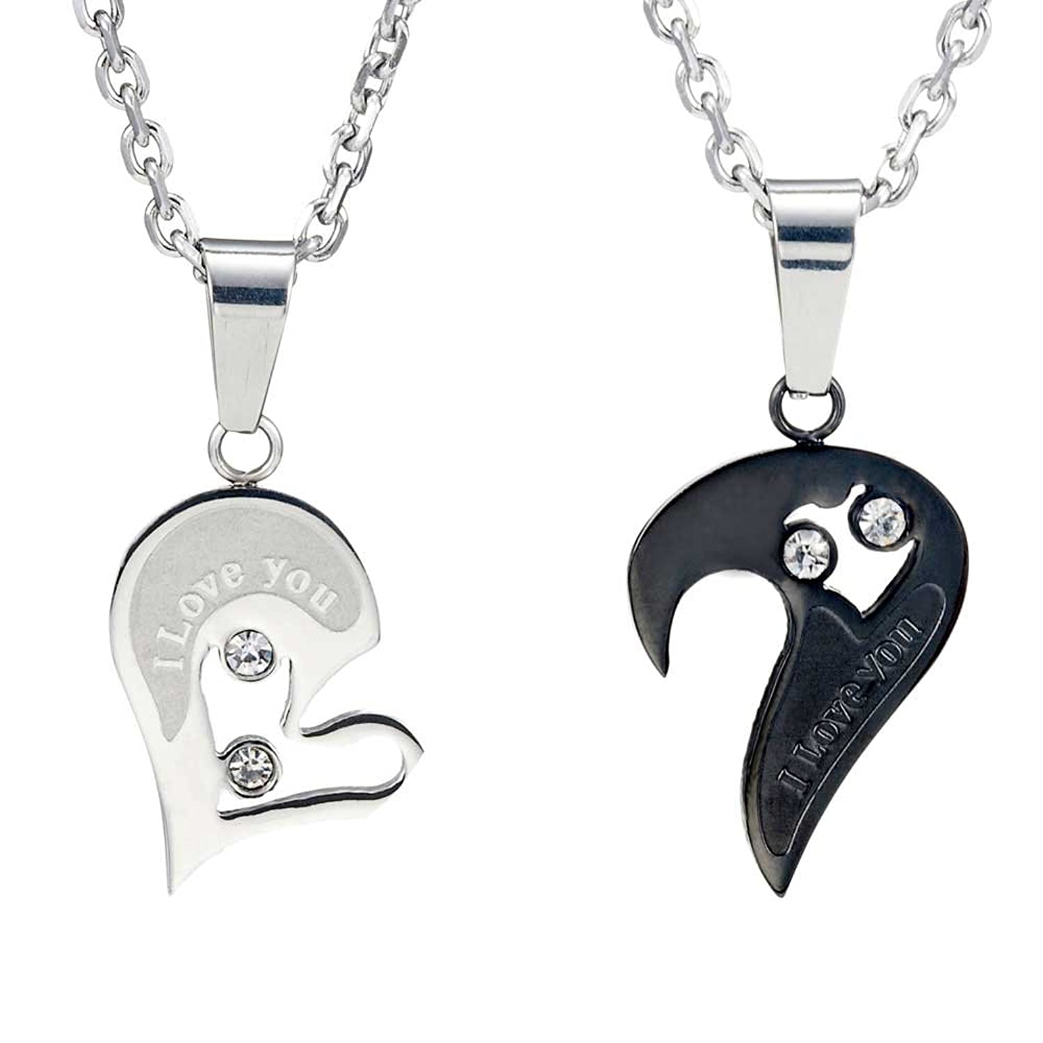 2pcs His & Hers Couples Gift Heart Pendant Love Necklace Set for ...