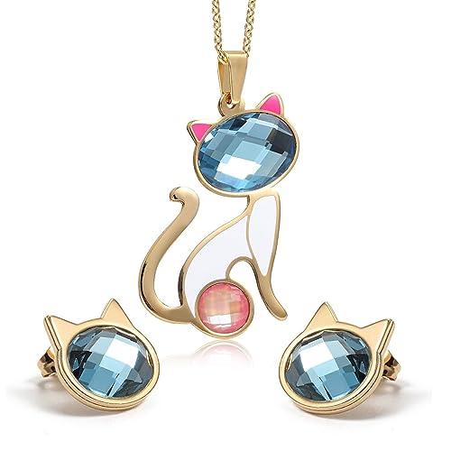 aea94c34c193 AnaZoz Joyería de Moda Collar de Mujer Juegos Gato Colgante Collar  Pendientes 18K Oro Para Mujer