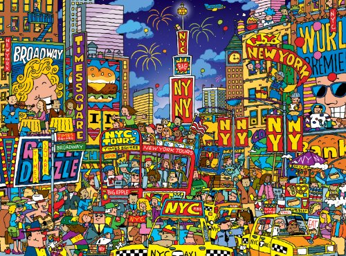 Buffalo Games Cartoon World: Dave Garbot Times Square - 1000 Piece Jigsaw Puzzle by Buffalo - Village Liberty Outlets