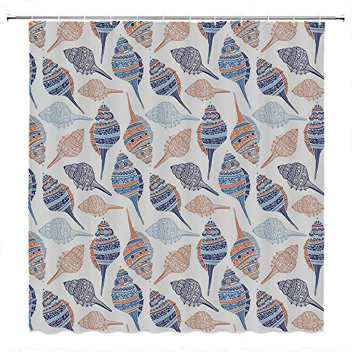 SATVSHOP Strongest-Mildew-Resistant-Shower-Curtain-with-12-Hooks-PVC-Free-Odorless-Ocean-Marine-Life-Themed-Abstract-Seashells-Scallops-With-Bohemic-Marigold-Navy-Blue-and-Blue.W54-x-L84-inch