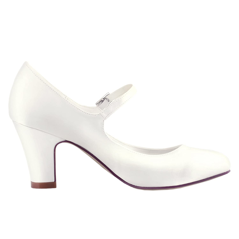 d5db069a10ad Elegantpark HC1801 Women Mary Jane Closed Toe High Block Heel Court Shoes  Buckle Satin Wedding Bridal Shoes  Amazon.co.uk  Shoes   Bags