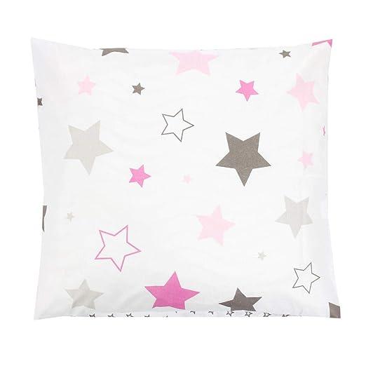 TupTam Funda para Cojin con Diseño Decorativo para Niños, Estrellas Rosa/Gris, 40 x 60 cm