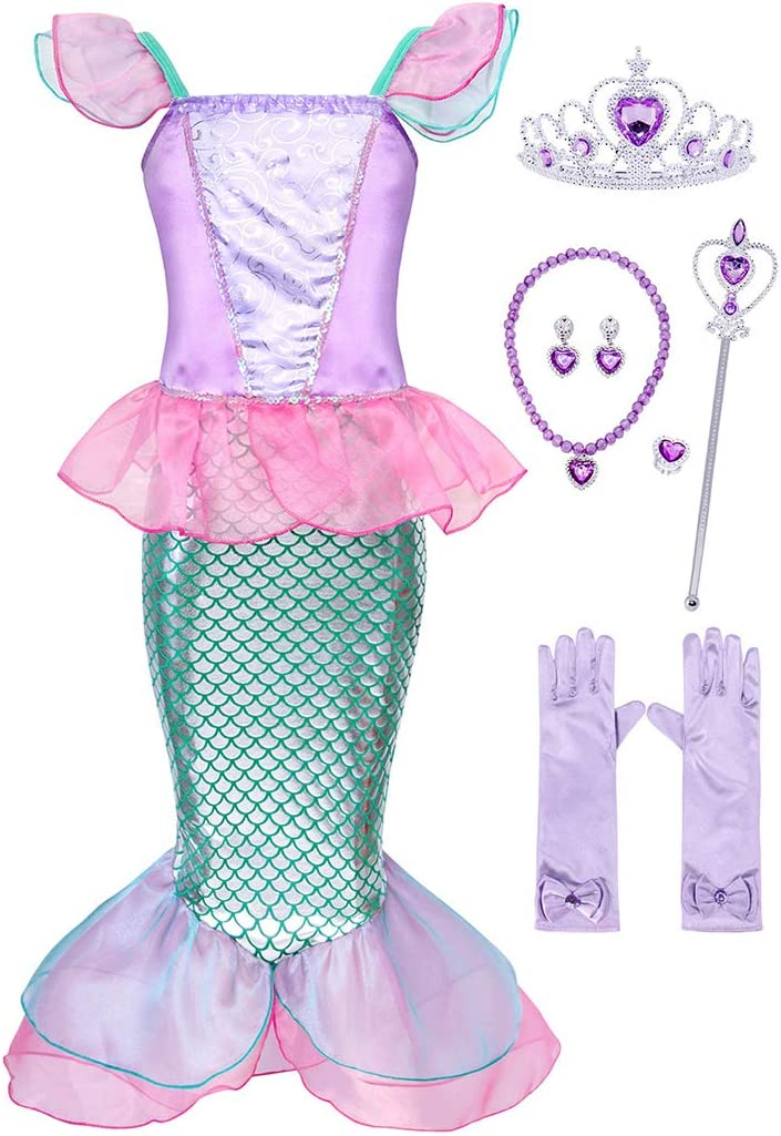 Mermaid Costume for Girls Halloween Party Princess Dress Kids Sequin Ruffle Holiday Dresses Sleeveless Birthday Role Play Dress Up Outfit Cosplay Clothes with Accessory 6 PCS(Pink,3-4 Years,100)