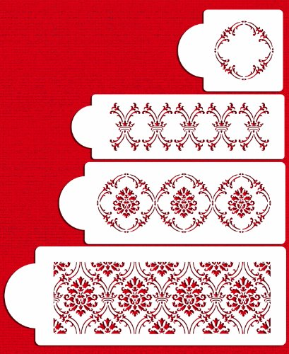 Designer Stencils C702 Royal Damask Cake Stencil Set, Beige/semi-transparent ()
