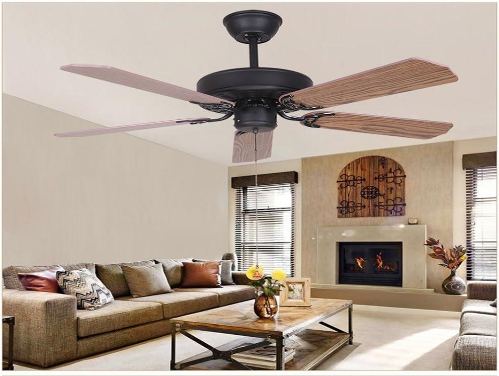 Negro mate ventilador de techo FARO Ventilador vintage americano, simple hoja de hierro, de estilo europeo, ventilador del proyecto araña salón, hojas de madera