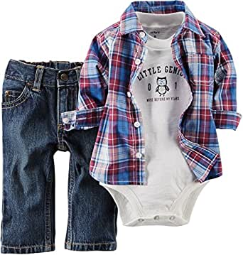 Amazon.com: Carters Baby Boy 3-piece Bodysuit Pants Shirt