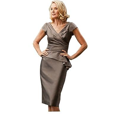 Kelaixiang Coffee Wrinkle Resistant Women Formal Dress Knee Length 2