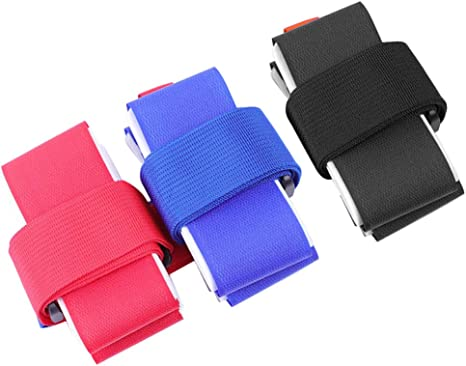 LIOOBO 3pcs Ski Strap Hooks and Loops Fastener Colored Adjustable Snowboard Binding Protection Tie Handle Straps Carrier for Home Travel Black, Red, Blue Style