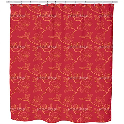 Uneekee Hibiscusdream In Red Shower Curtain: Large Waterproof Luxurious Bathroom Design Woven Fabric by uneekee