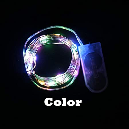 JIEIIFAFH Luces LED de Interior con Botones Caja de batería Luces de Colores Diseño de Escena navideña Lámpara de Cable de Cobre Especialidad (Color : Color, Size : 50 Lights): Amazon.es: Hogar