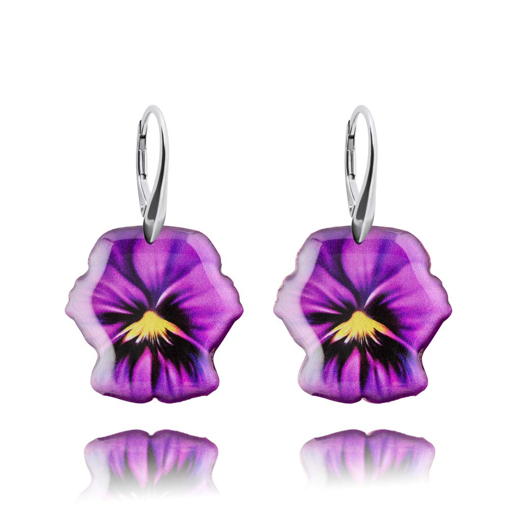 Pretty Purple and Yellow Pansy Flower Silver Earrings Presents for Women; Nice Violet Birthday Jewellery; Shape 0.8inch 2 cm