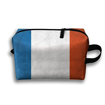 Leisue France Grunge Flag Cosmetic Bag Zipper Makeup Accessories Pouch Toiletries Bags Pen Pencil Power Lines Travel Cases Hanging Documents Handbag