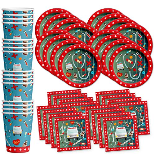 Medical- Doctor & Nurse Birthday Party Supplies Set Plates Napkins Cups Tableware Kit for 16 -