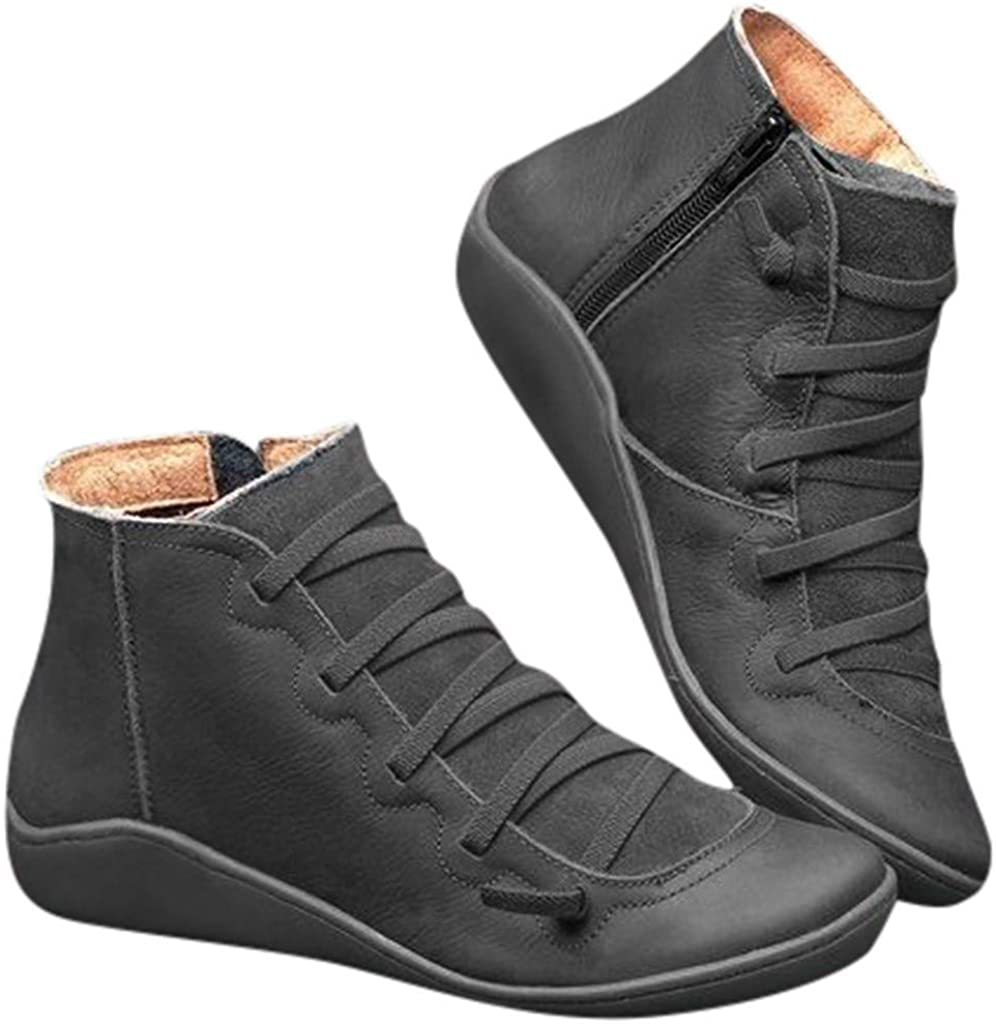 Arch Support Boots for Women Comfy Flat Ankle Boots Autumn Winter Fashion Lace up Side Zip Vintage Booties Casual Shoes