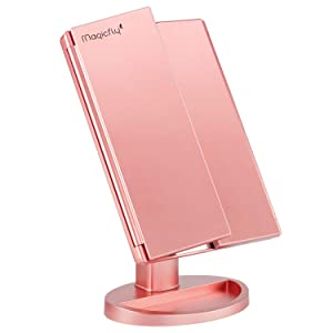 Magicfly Vanity Makeup Mirror, 10X 3X 2X 1X Magnifying Mirror 21 LED Lights, Touch Screen Adjustable Brightness & 180° Adjustable Stand, Two Power Supply Mode Travel Cosmetic Mirror Rose Gold
