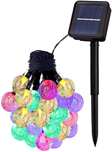 JIOR Solar String Light 21 Ft Patio Lights with 30 Bulbs IP65 Waterproof Lights for Indoor Outdoor Decoration Muticolor-Bubble