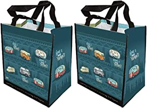HAPPY DEALS ~ 2 Pack | Home is Where You Park It | Retro RV Camper Tote Grocery Bags 13.75 x 13.75 inch