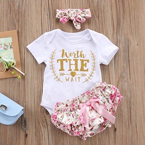Counjunto de Ropa bebé niña Verano ❤ Amlaiworld Recién Nacido bebé niñas Carta Floral Monos Verano Mameluco Tops y Pantalones Cortos Ropa Conjunto: ...