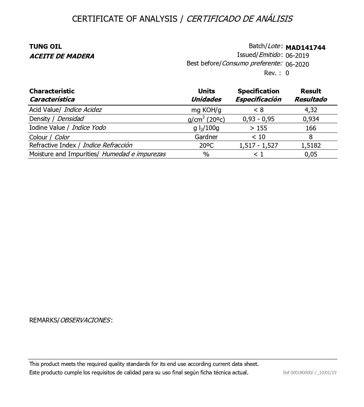 ACEITE DE TUNG - 500 ml