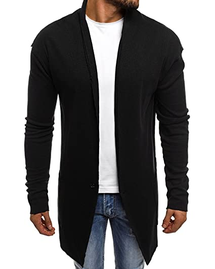 Mens Cardigan Sweater Shawl Collar Open Front Long Sleeve Jacket