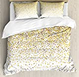 Gold and White Duvet Cover Set Queen Size by Ambesonne, Party Inspired Confetti Like Circles Rounds Ombre Color Design, Decorative 3 Piece Bedding Set with 2 Pillow Shams, Brown Orange and Yellow