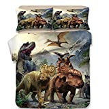 Group of Dinosaurs Printed Bedding Set, for Kids Full Size Sheets 1 Duvet Cover 2 Pillow Shams (Queen)