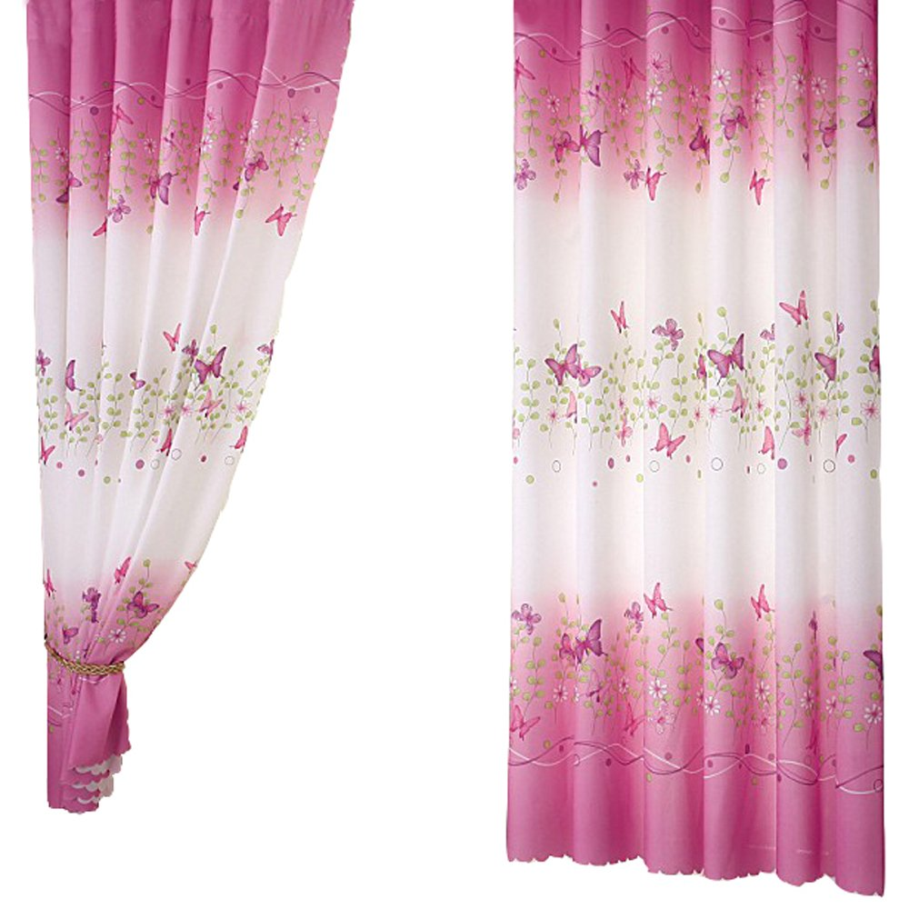 Pannow Butterfly Flowers Printed Window Curtains with Hooks Girls Room Curtain Panels for Bedroom Living Room Kids Room or Nursery Window Drapes - 39' x 78', 1 Panel