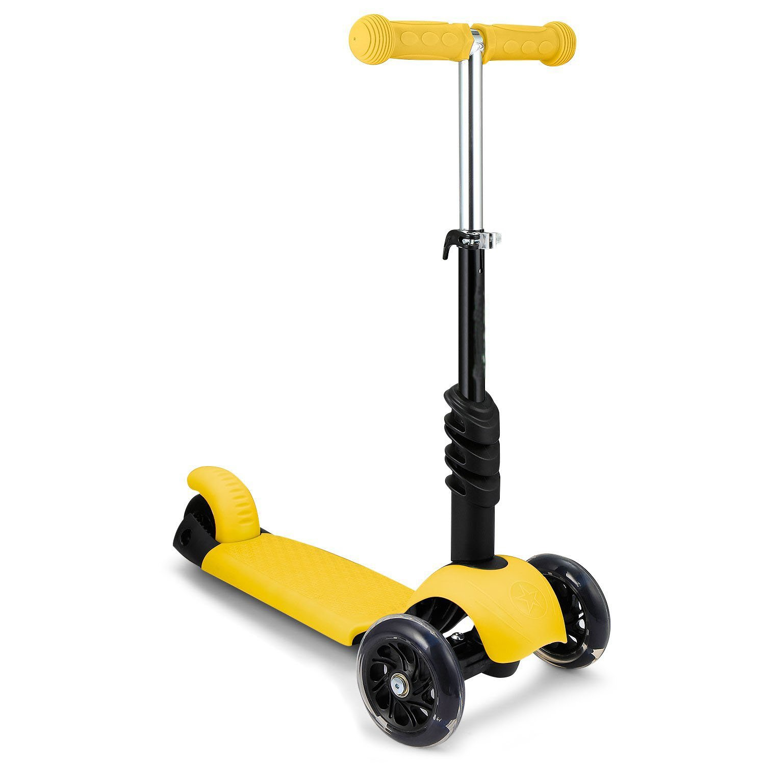Fashine Child Kids Deluxe 3-Wheel Mini Kick Scooter with LED Flashing Wheels and Adjustable Handle T-Bar & Seat(US Stock)
