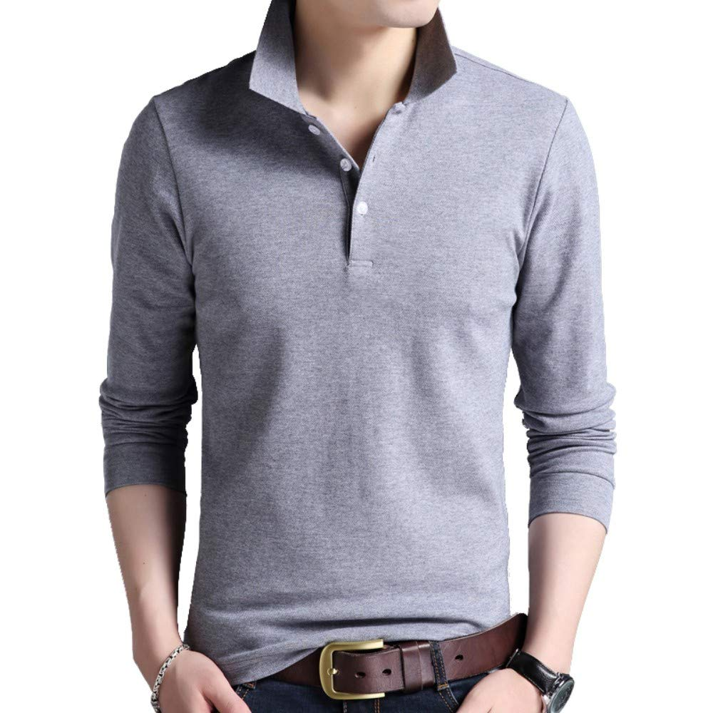 NISHIPANGZI Los Hombres Polo Shirt Color sólido Slim Polo Manga ...