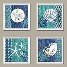 4 Lovely Blue and Teal Ocean Seashell Sand Dollar and Star Fish Set; Four 12x12in White Framed Prints, Ready to Hang!