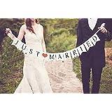 Just Married Wedding Bunting    Wedding Banner for Wedding Reception or Wedding Car Decoration (Bunting Shaped)