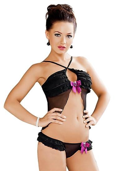 cfbbffe4fd5 Irall Erotic Tia Black Ruffle Top and Thong Set Xlarge  Irall Erotic   Amazon.co.uk  Clothing