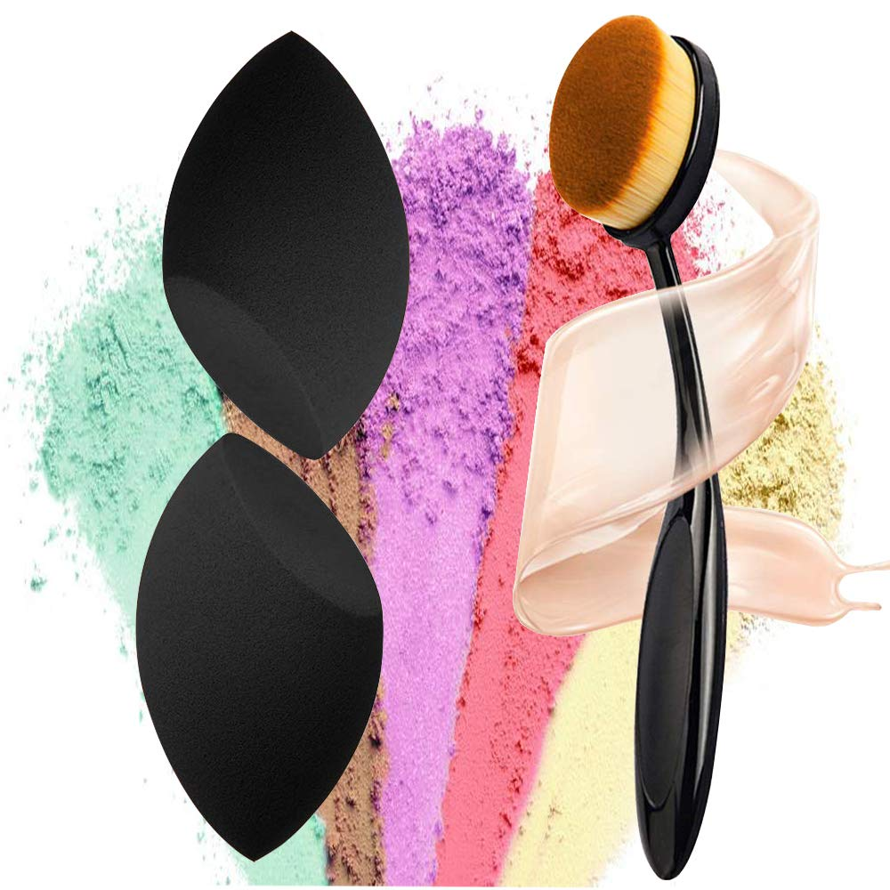 materasu non-latex makeup super soft 2pcs black sponge set blender BB cream,liquid with toothbrush foundation under 5 dollars