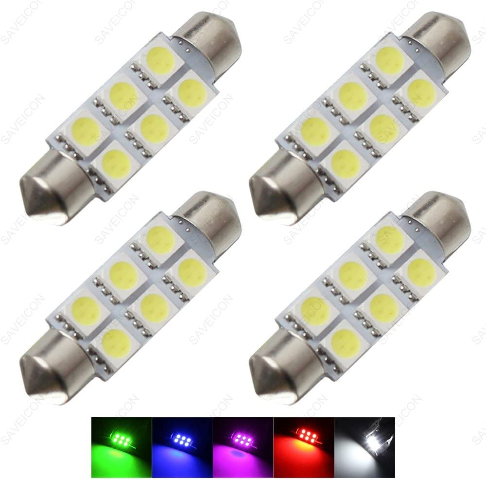 """SAWE - 1.72"""" 42mm 6-SMD 5050 Festoon LED Bulbs For Dome Map Light 211-2 578 (4 pieces) (Blue)"""
