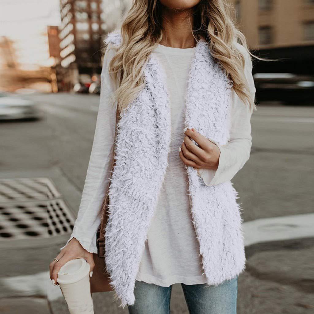 Creazrise Womens Vest Casual Faux Fur Sherpa Jacket Winter Sleeveless Open Front Coat Sleeveless Waistcoat Pink,XL