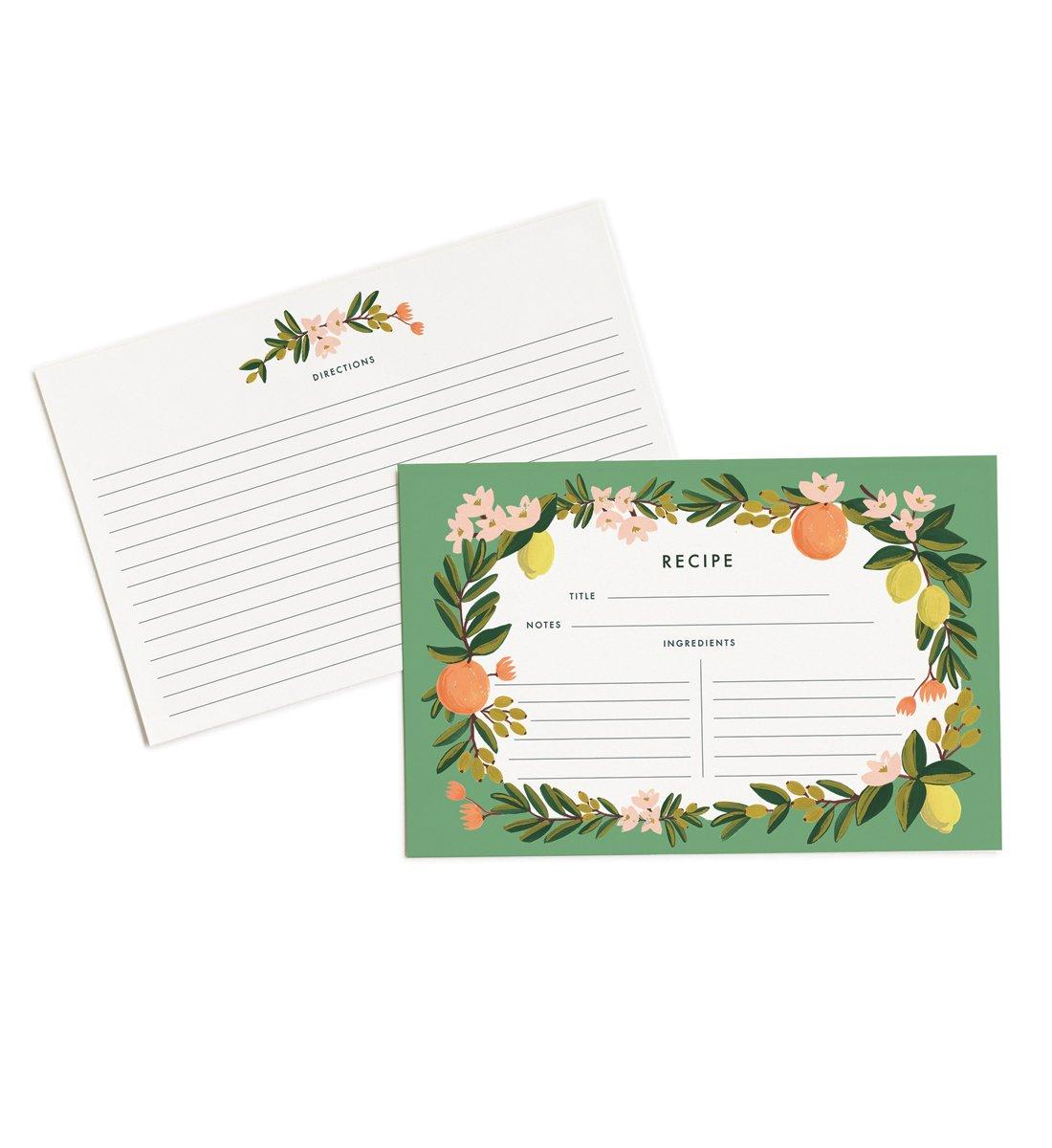 Rifle Paper Co. Citrus Floral 4\ x 6\ Recipe Cards -- Set of 12 Cards RCM003