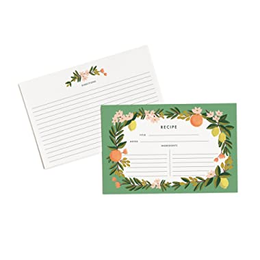 Rifle Paper Co. Citrus Floral 4  x 6  Recipe Cards - Set of 12 Cards