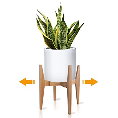 X-cosrack Adjustable Plant Stand Mid Century Wood Modern Flower Potted Holder Rack for Indoor Outdoor, Fit 8'' to 12'' Planter(Plant and Pot Not Included) : Garden & Outdoor