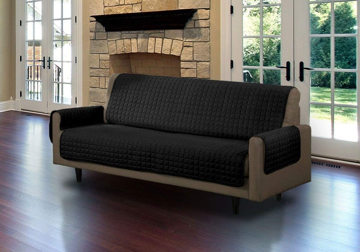 Linen Store Quilted Microsuede Pet Dog Couch Furniture Protector Cover with Tucks, Black, Sofa