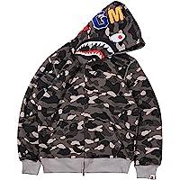 Bape Shark Hombre Sudadera 3D Impresión con Cabeza de Tiburón Manga Larga Hip Hop Tops Camuflaje